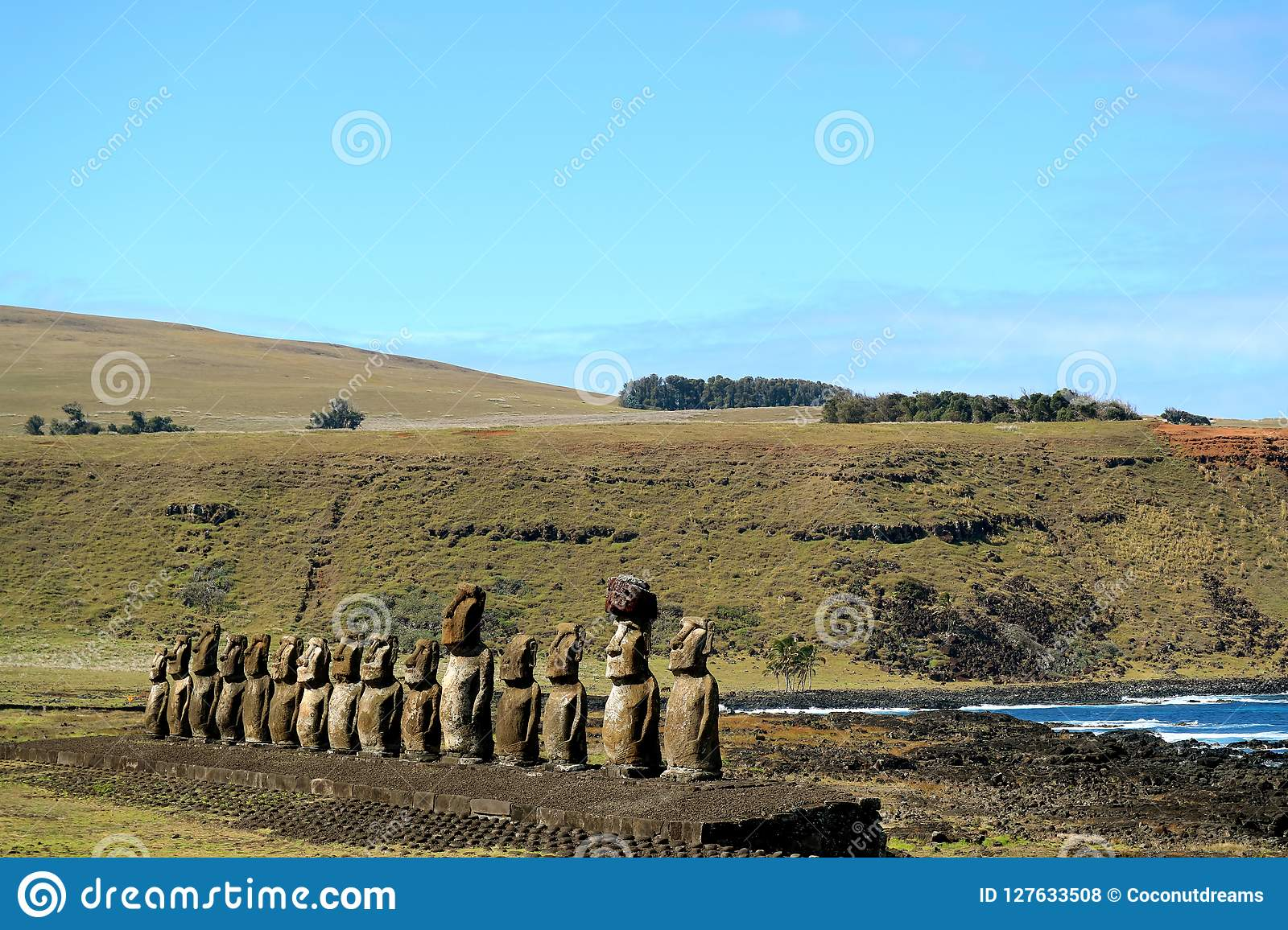 The famous 15 huge Moai statues of Ahu Tongariki archaeological site, UNESCO World Heritage Site on Easter Island, Chile