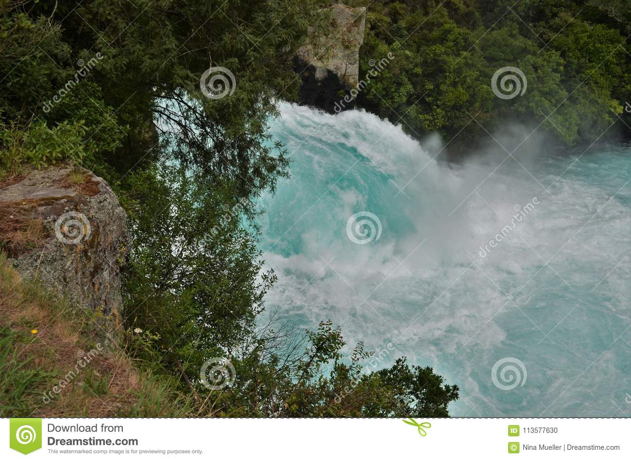 Famous Huka waterfalls with ice blue water