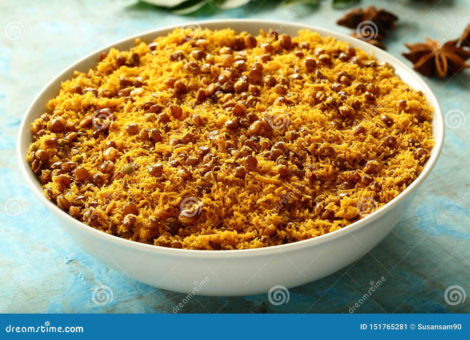 Bowl of Dal biji,moth namkeen Indian fried spicy snacks
