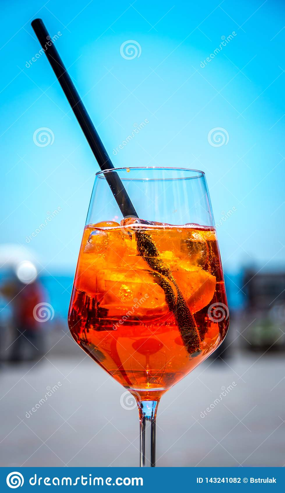 Famous Italian Aperol spritz during the hot summer