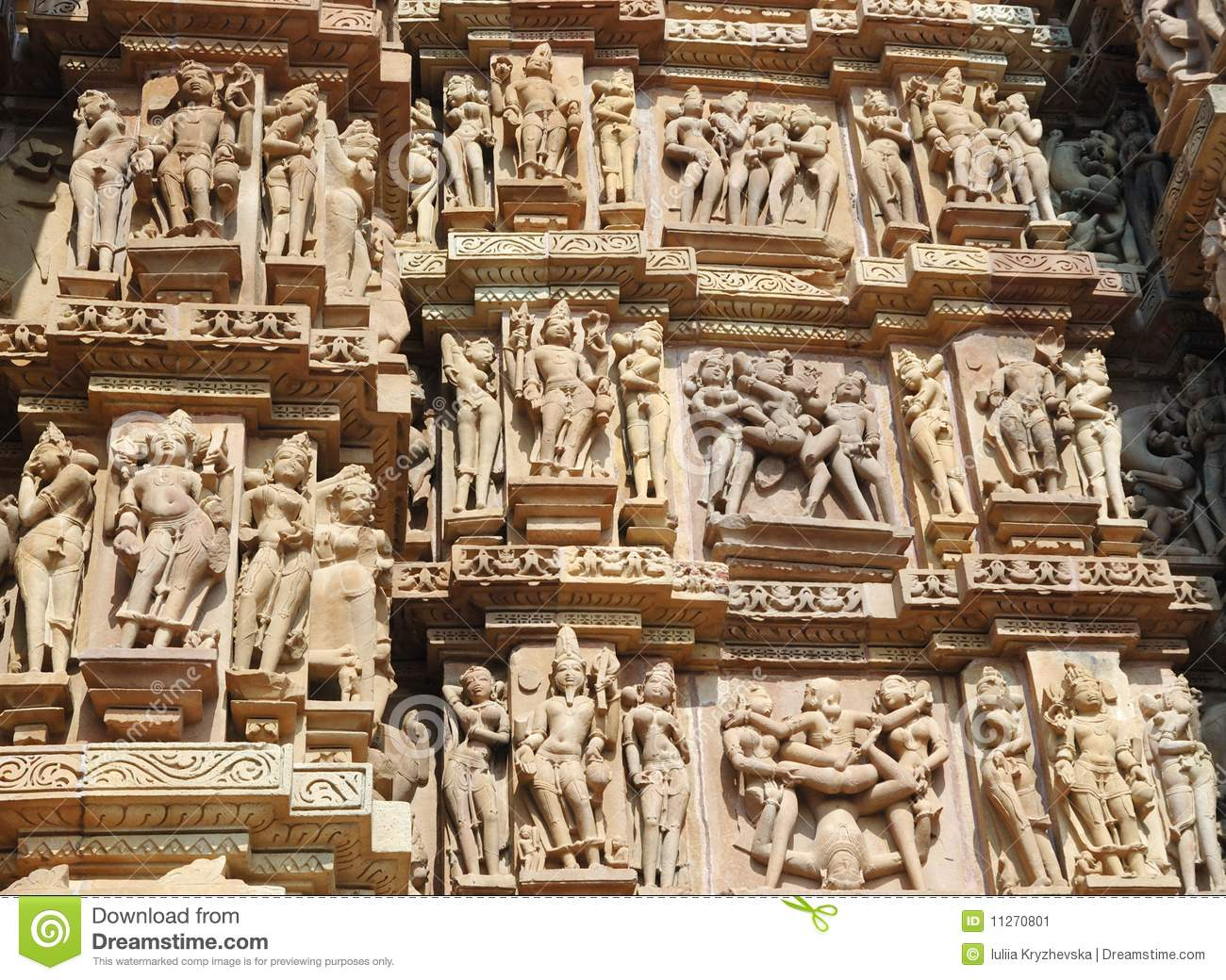 Famous kamasutra scenes on the wall of hindu temple in Khajuraho.These