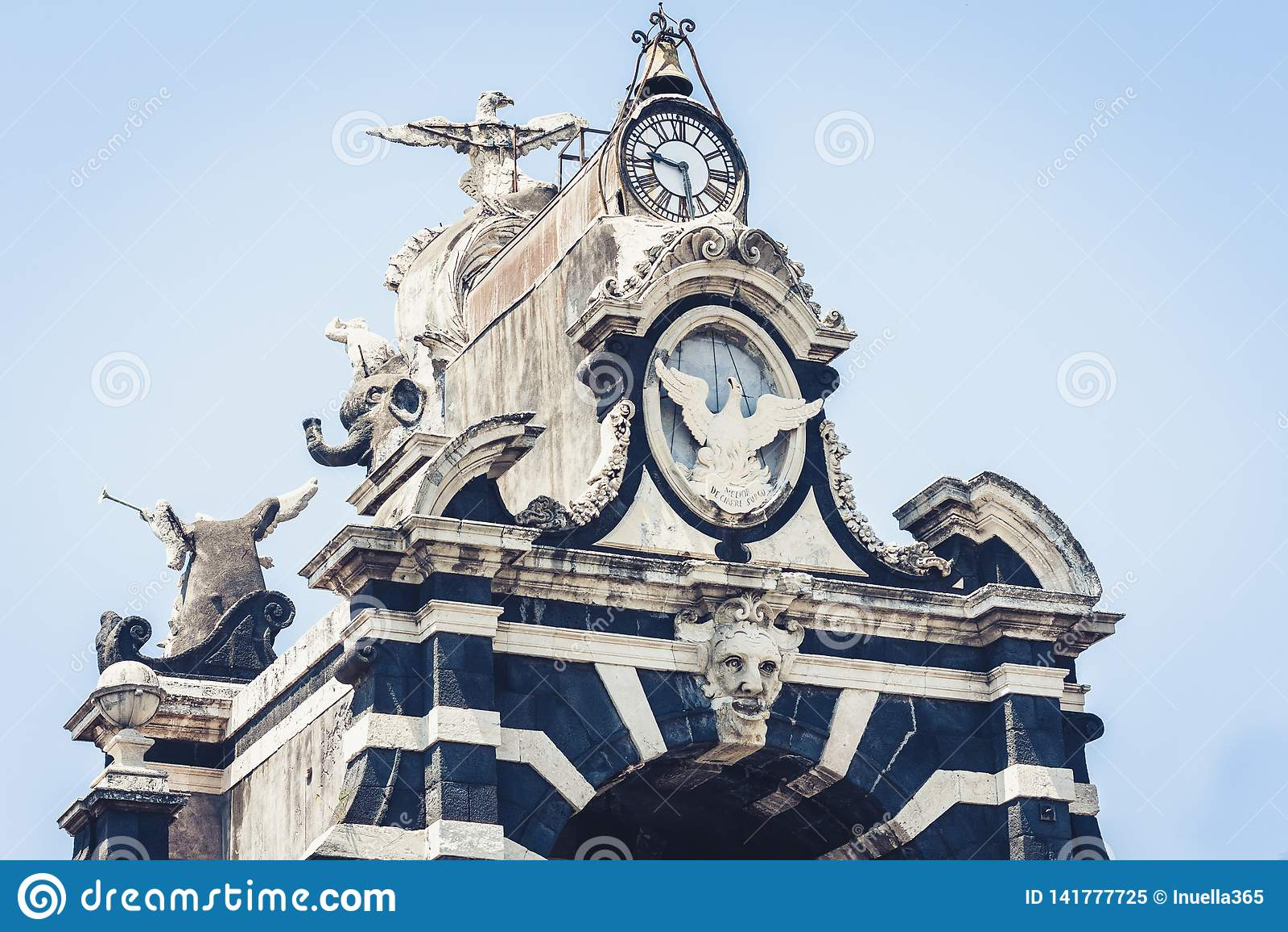 Famous landmark – gate Porta Garibaldi in Catania, Sicily, Italy