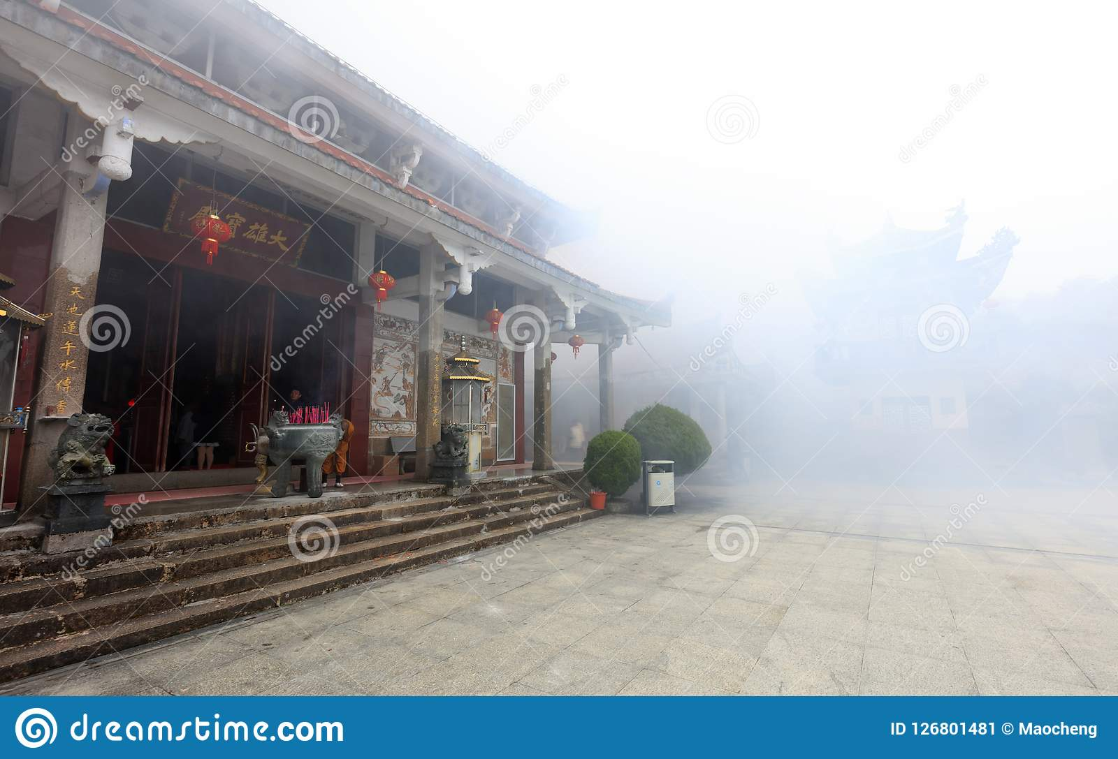 Famous lingjiuyansi temple in smog, srgb image