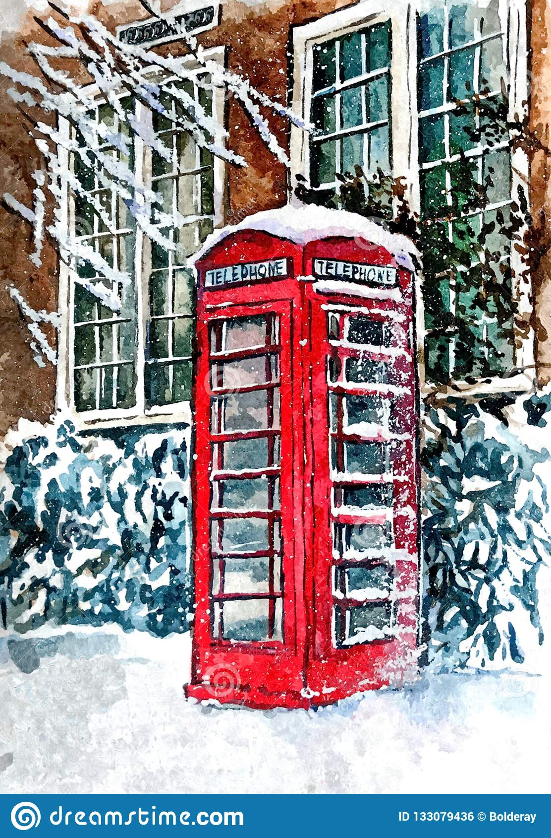 Famous London red telephone booth in snow. Urban landscape. Painting wet watercolor on paper. Naive art. Abstract art.