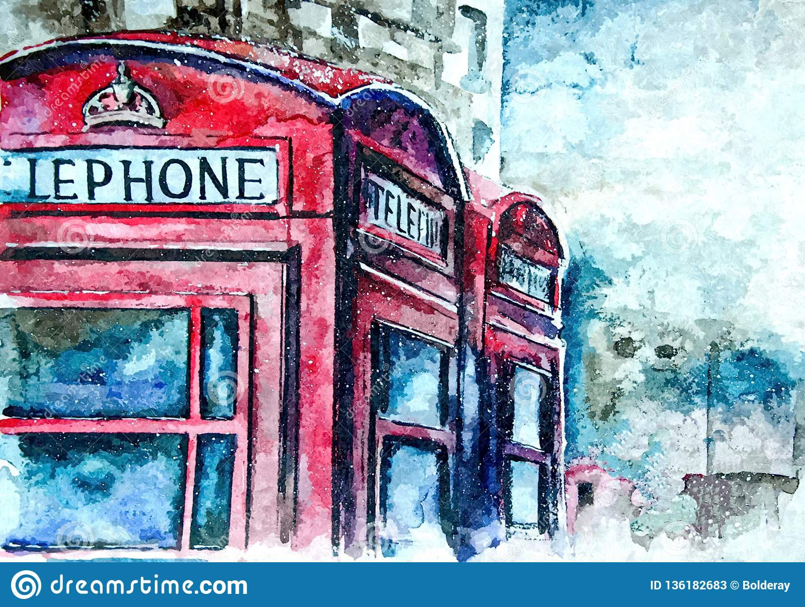 Famous London Red Telephone Booth Urban Landscape Painting