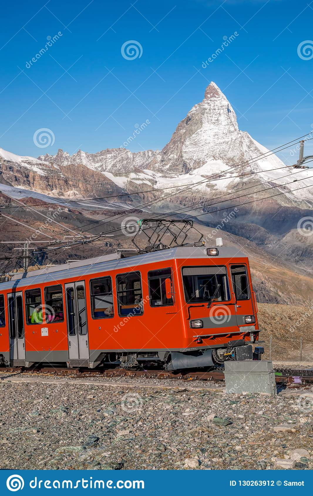 Matterhorn peak with Gornergrat train in Zermatt area, Switzerland