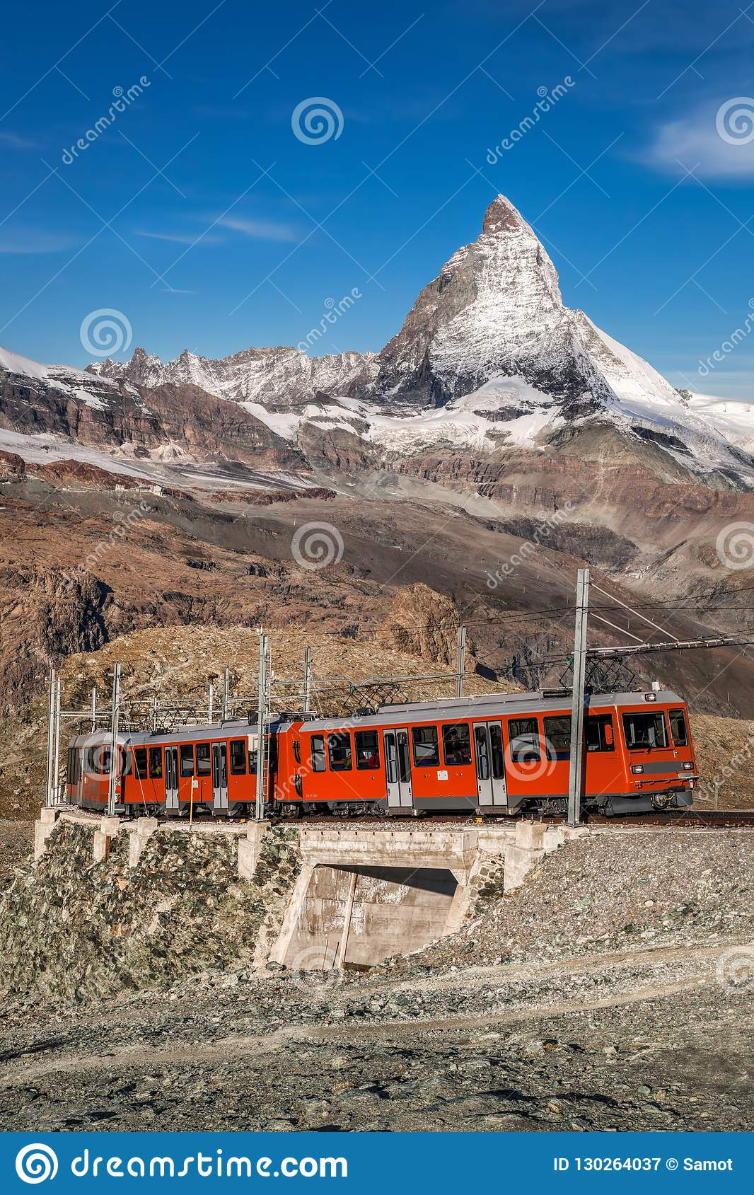 Matterhorn peak with Gornergrat train in Zermatt area, Switzerland