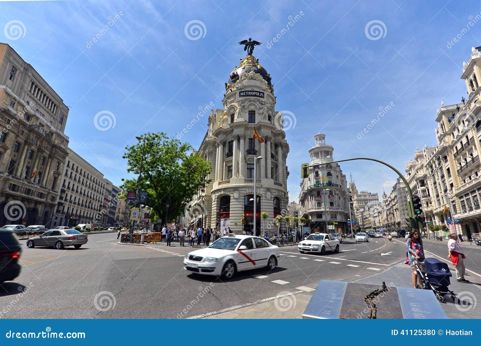 The famous Metropolis Building of Gran Via, Madrid
