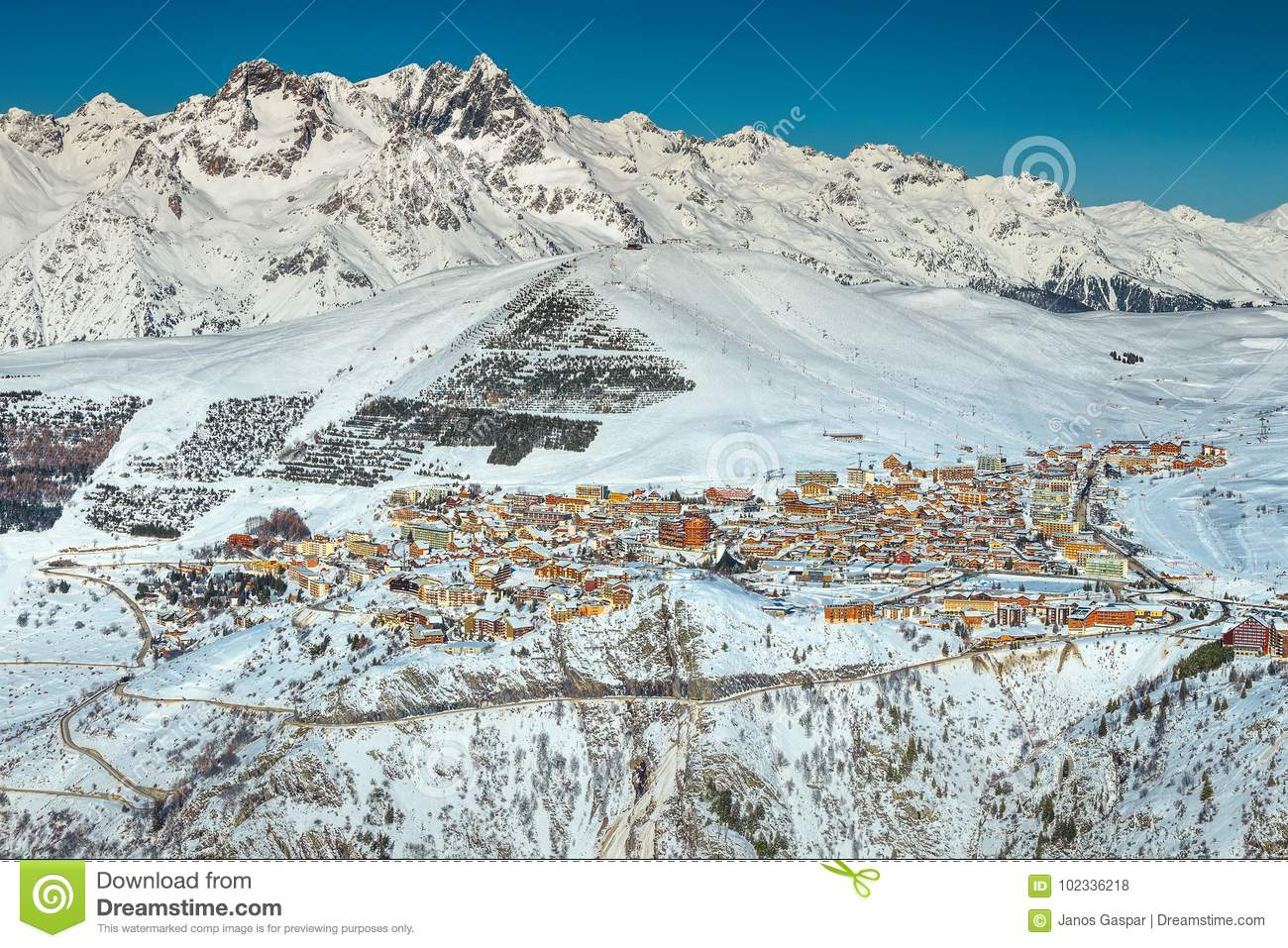 famous mountain ski resort in the french alps, europe stock photo