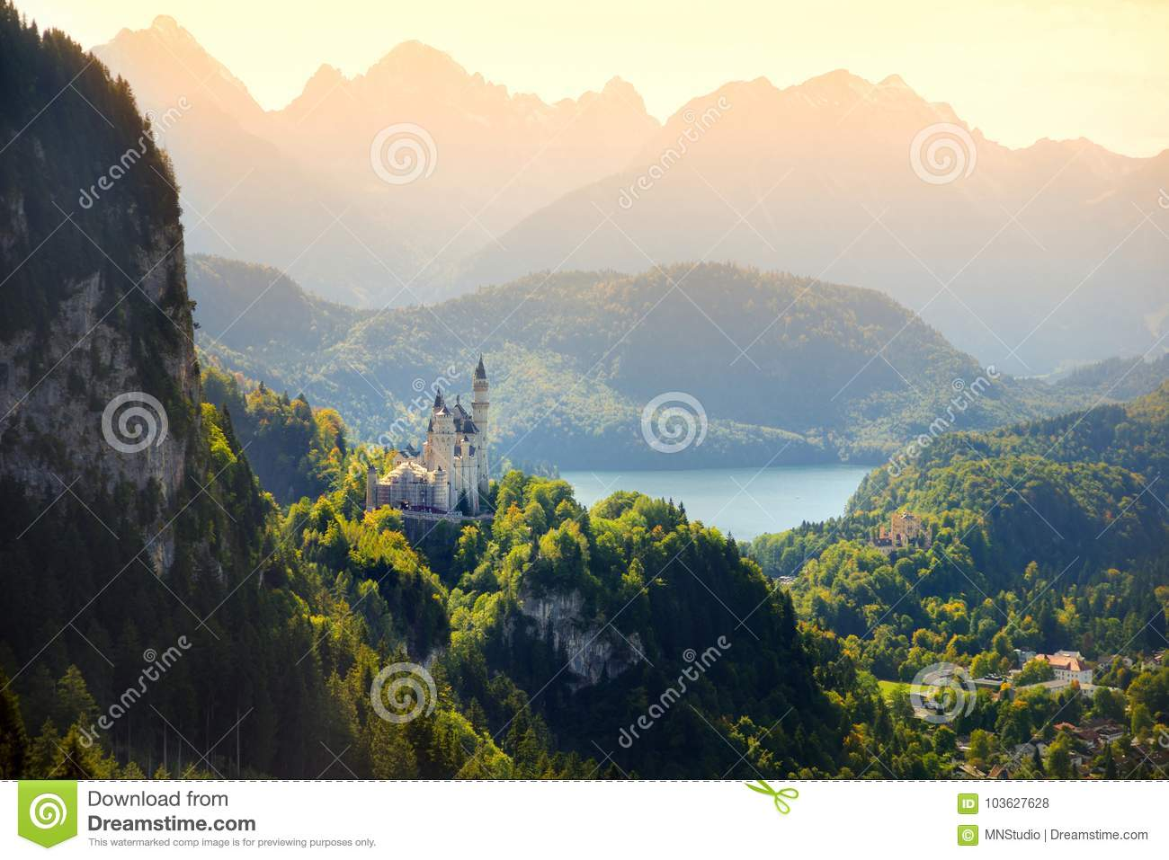 Download Famous Neuschwanstein Castle, Fairy-tale Palace On A Rugged Hill Above The Village Of Hohenschwangau Near Fussen Stock Photo - Image of destination, famous: 103627628