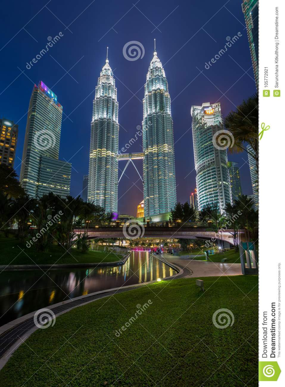 KUALA LUMPUR, MALAYSIA JULY 15: Night view of Petronas Twin Towers (fondly known as KLCC) and the surrounding buildings at during