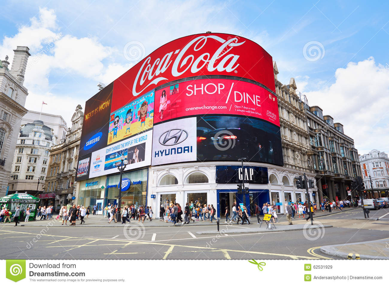 Famous Piccadilly Circus Neon Signage And People In London ...