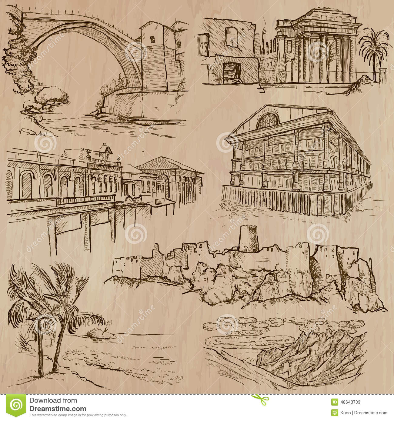 Line Art Layer : Famous places and architecture hand drawn vector stock