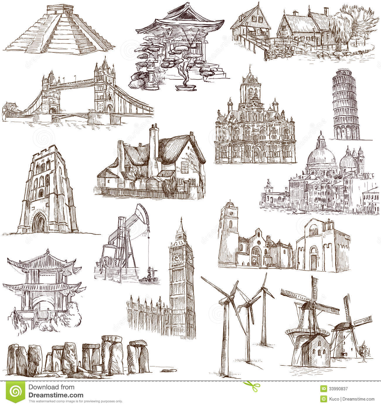 Famous places - 3 stock vector. Image of china, artistic ...