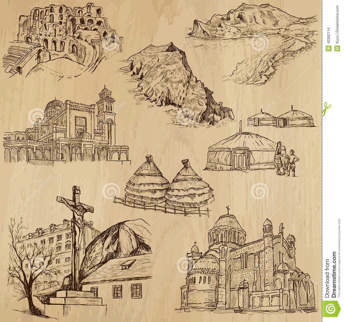 Famous Places And Buildings Vector Pack Collection Of An Hand