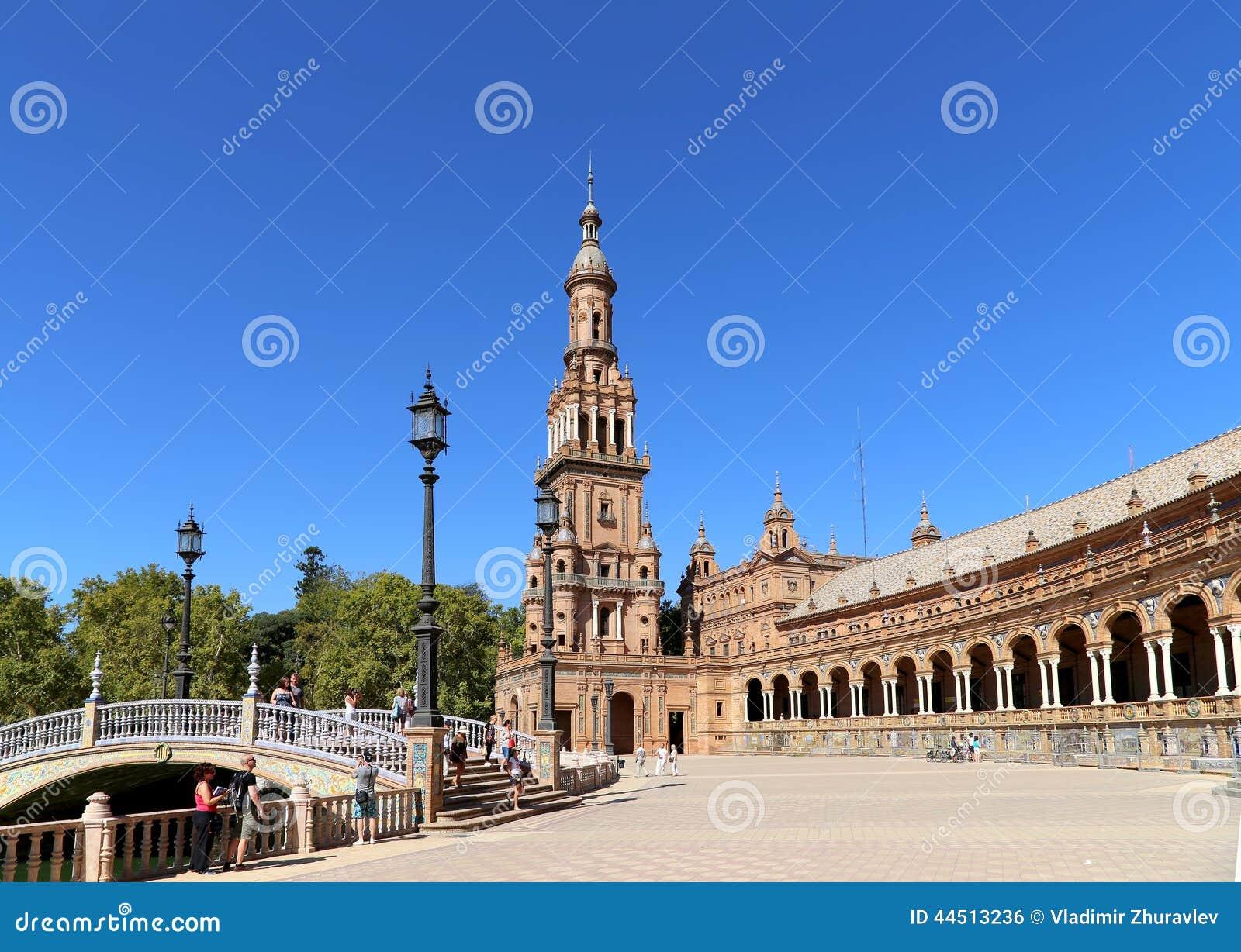 Famous Plaza de Espana - place espagnole en Séville, Andalousie, Espagne Vieille borne limite
