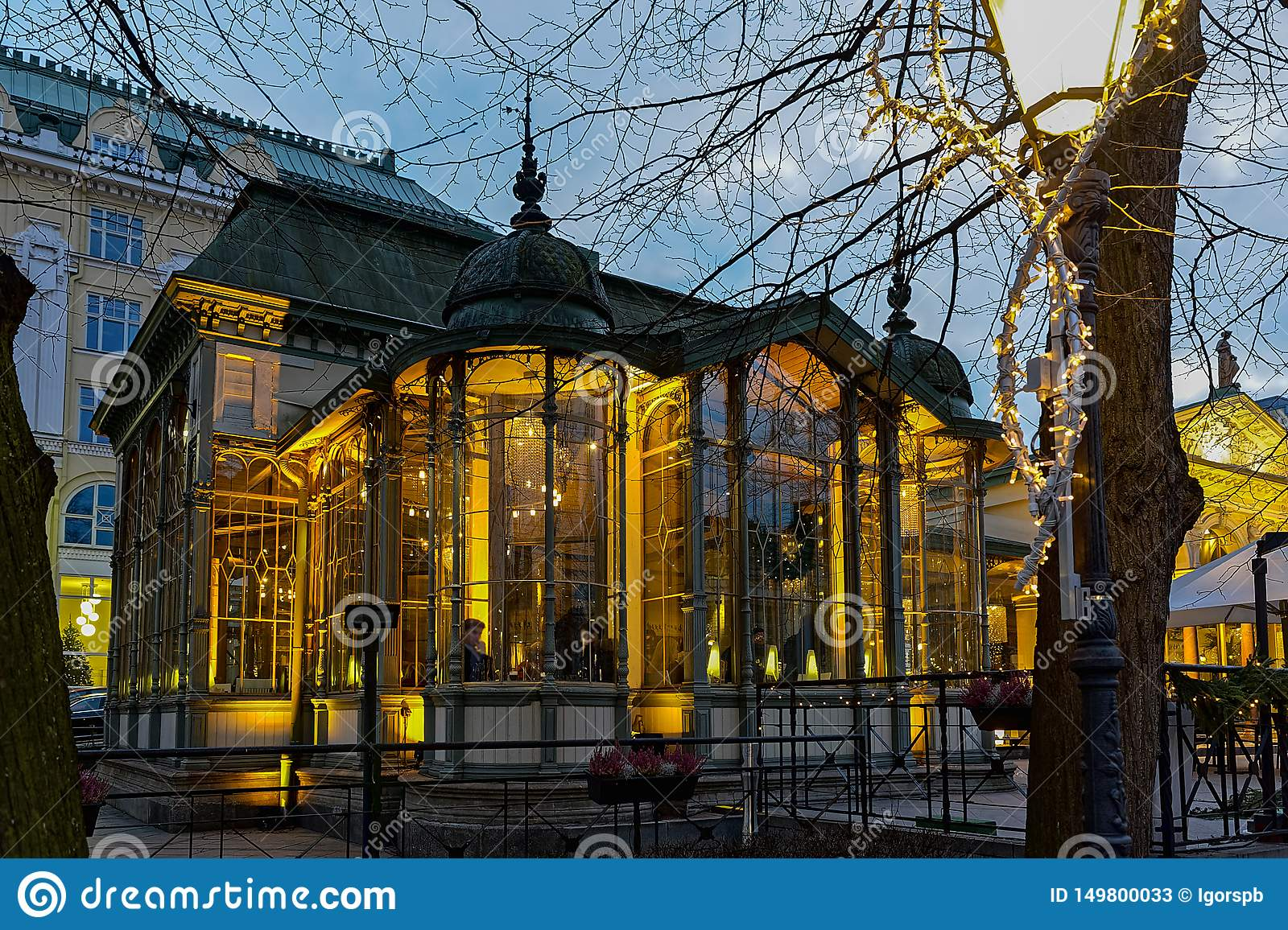 Famous And Popular Place Cafe Bar Restaurant On Esplanadi Park In Lighting At Evening Illumination Editorial Stock Photo Image Of Finland Popular 149800033
