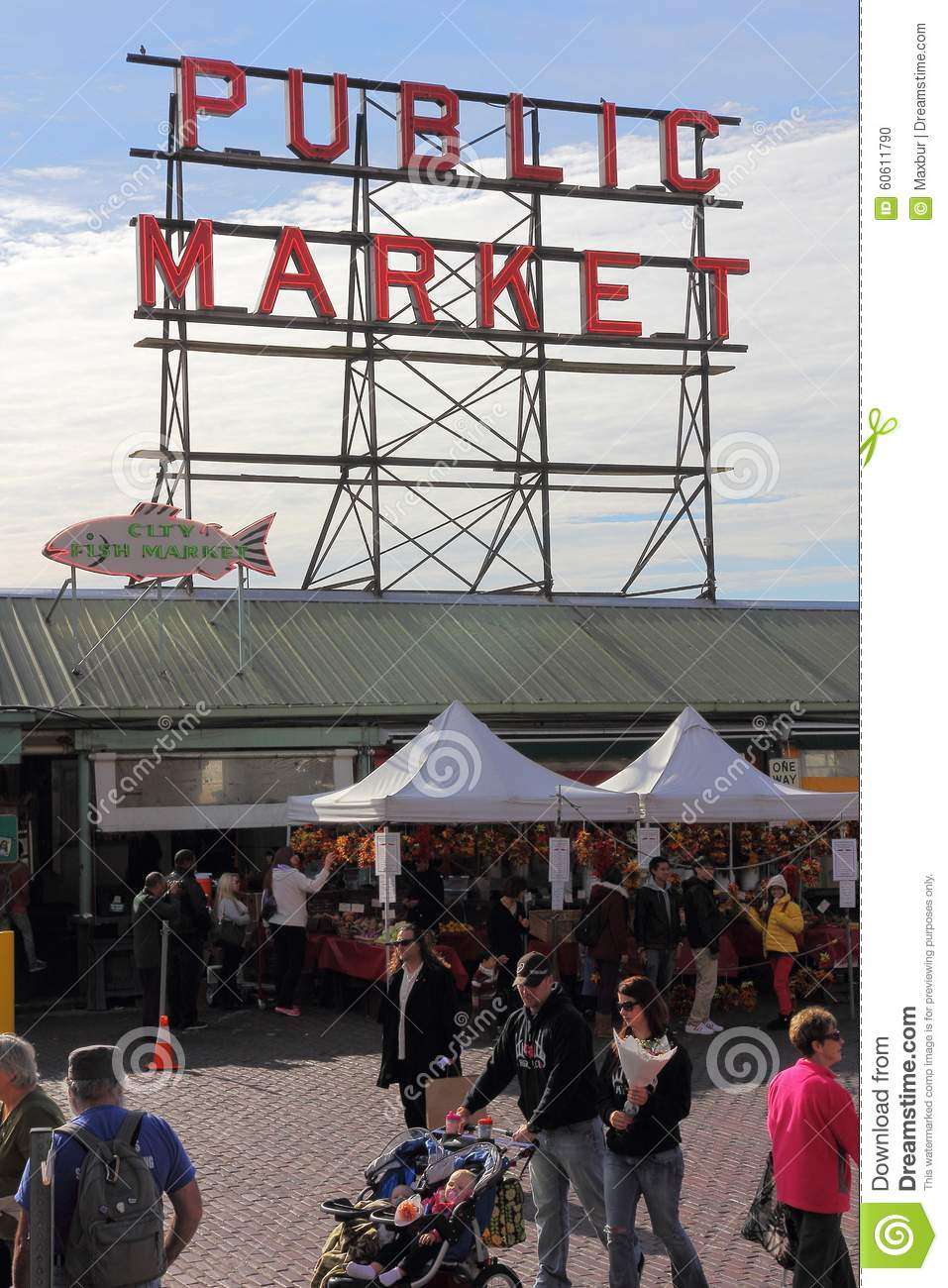 Famous public fish market editorial image image 60611790 for Famous fish market in seattle