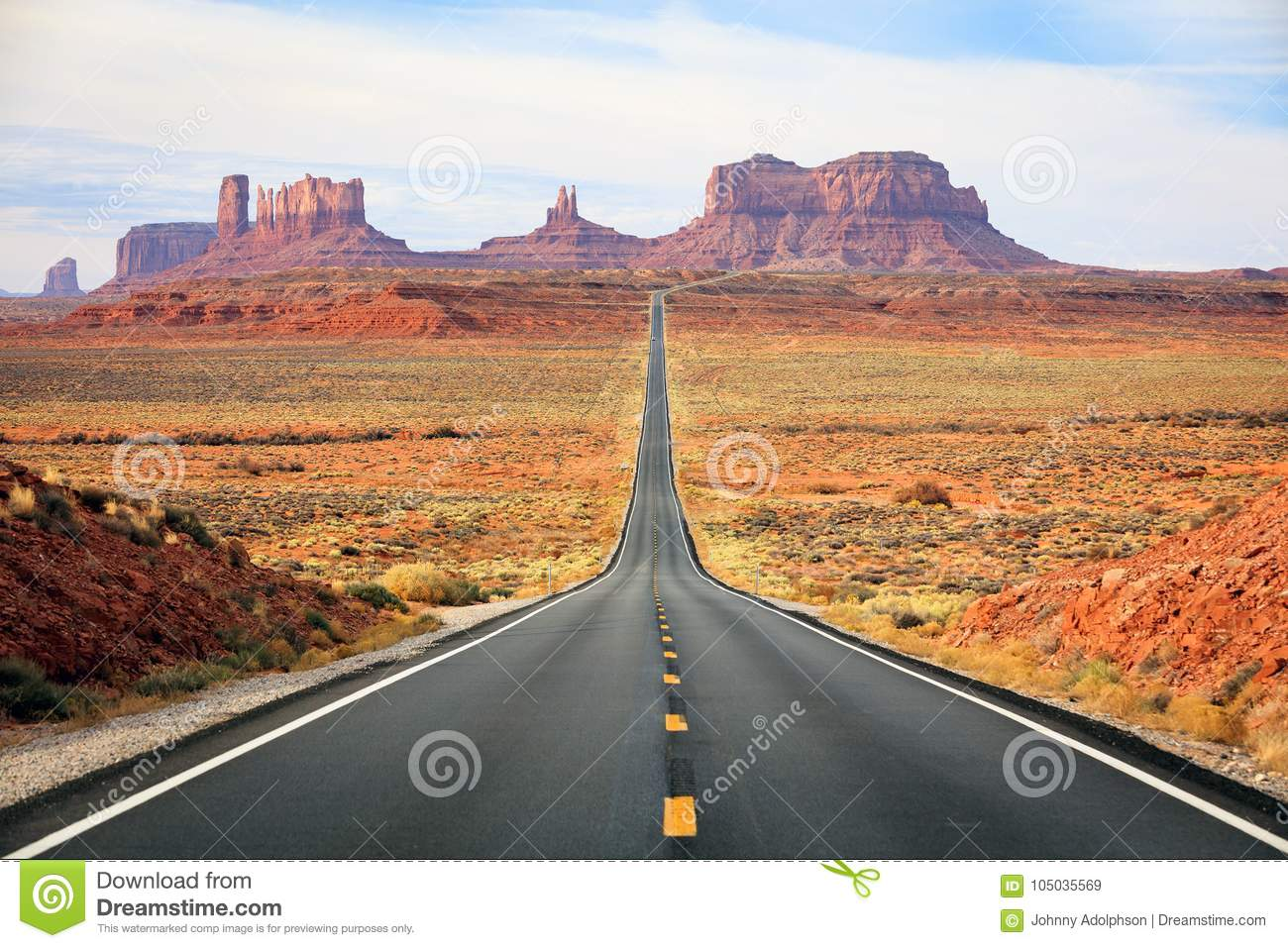Famous road into Monument Valley.