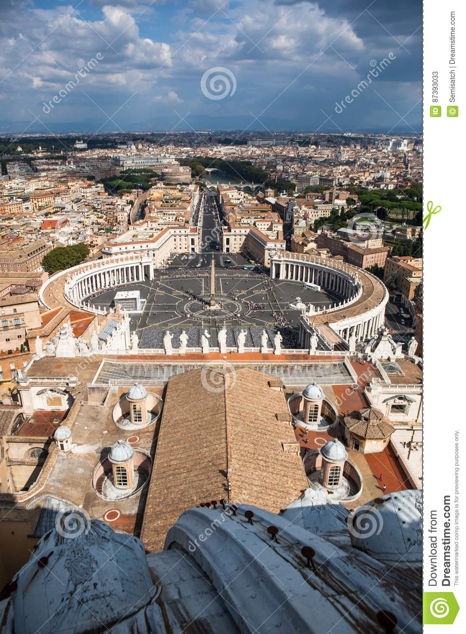 Famous Saint Peter& X27;s Square In Vatican, Aerial View
