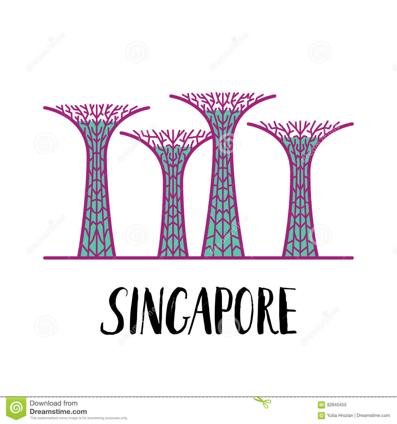 Famous singapore landmark gardens by the bay with modern