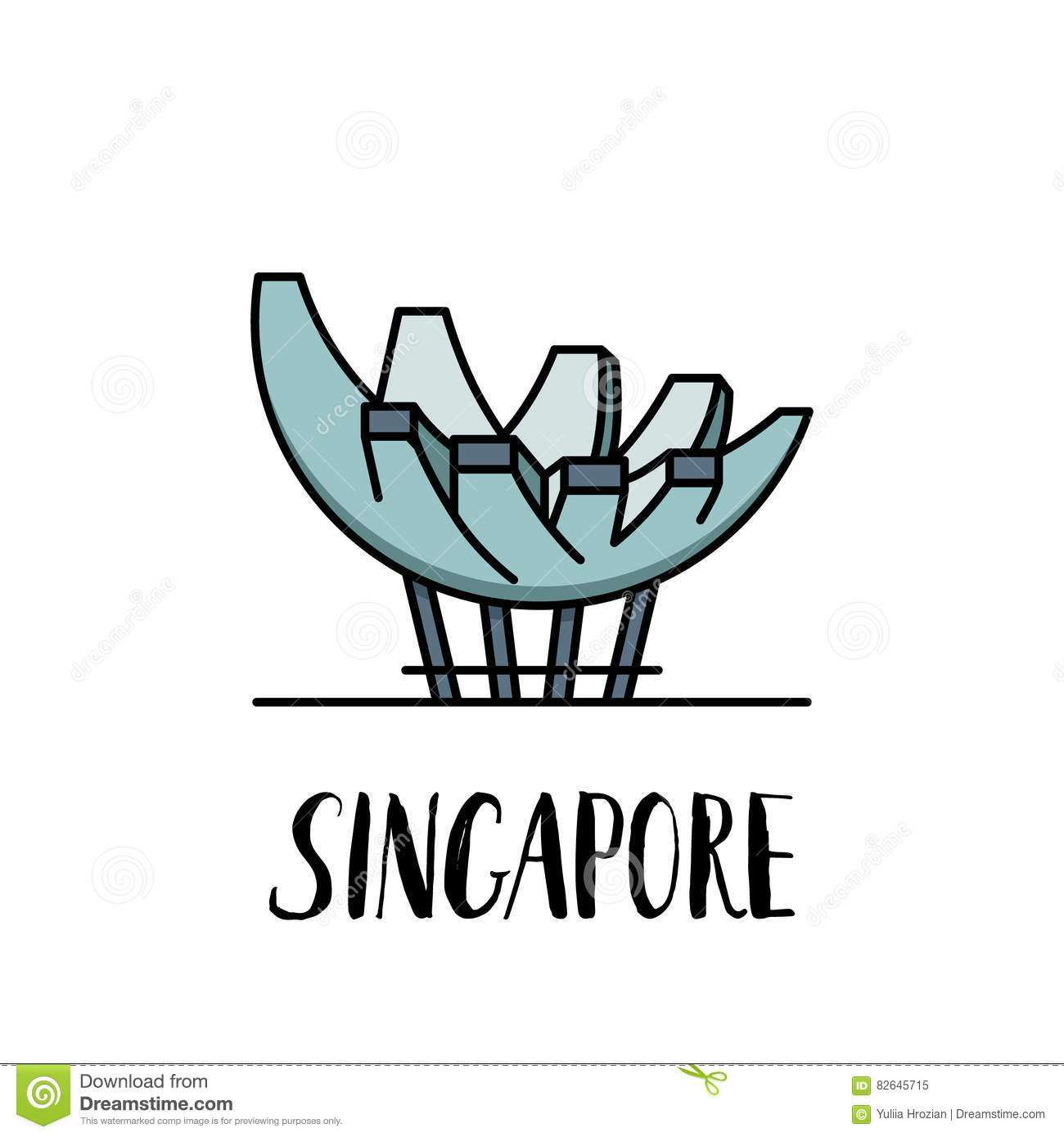 Famous singapore landmark lotus by the sea with modern
