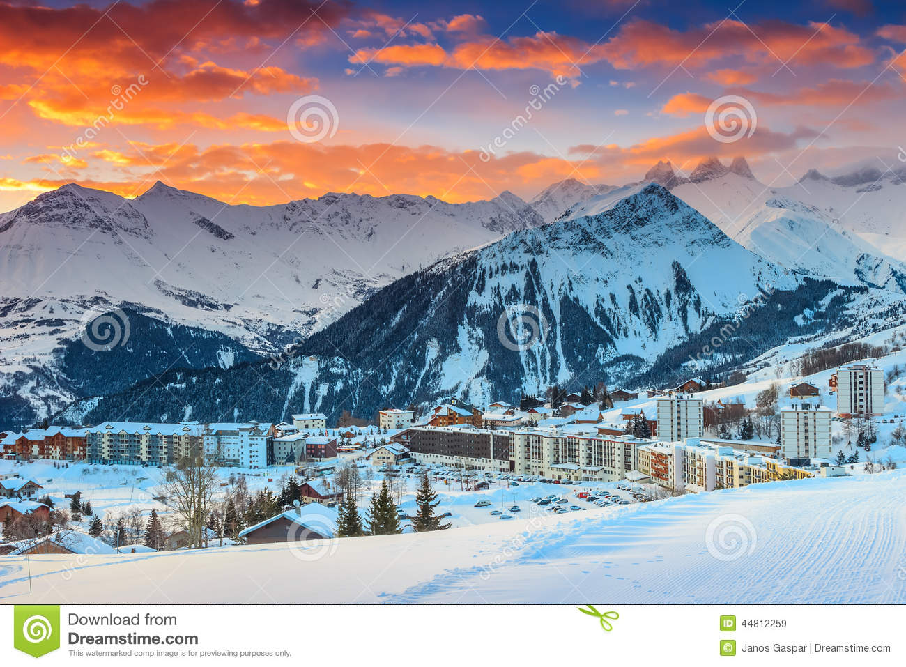 famous ski resort in the alps,les sybelles,france,europe stock image
