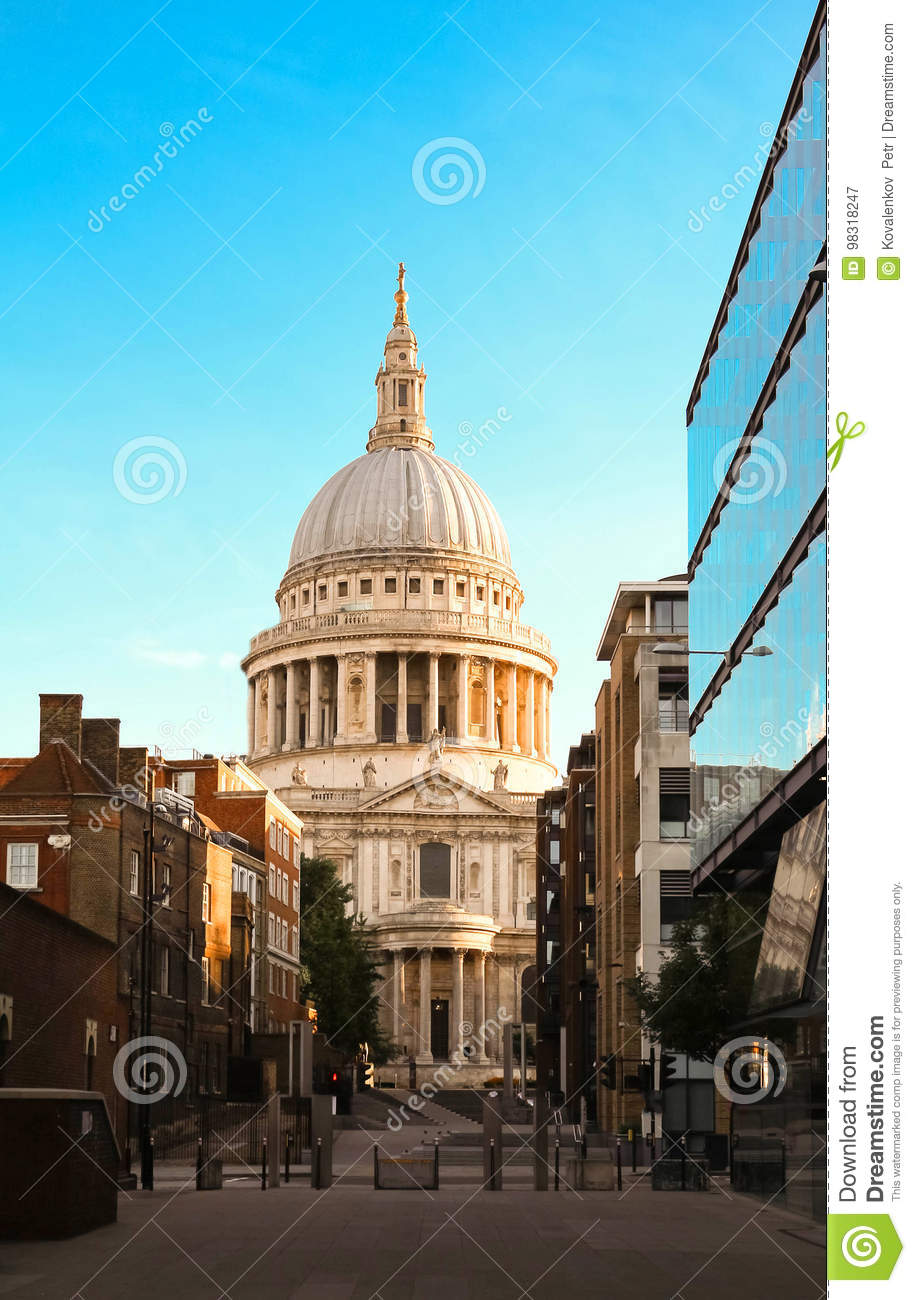 The famous St Paul`s cathedral at sunrise, London, United Kingdom.