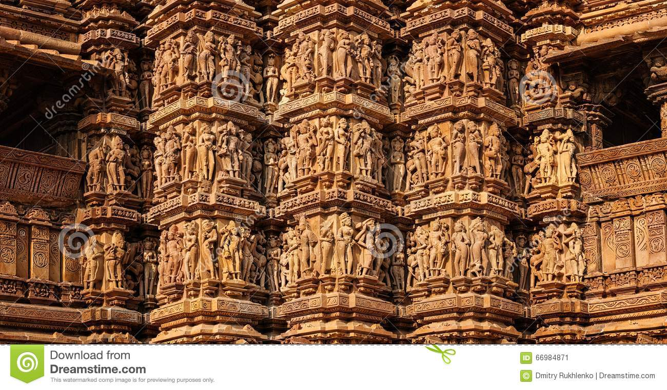 Famous stone carving sculptures of khajuraho stock image
