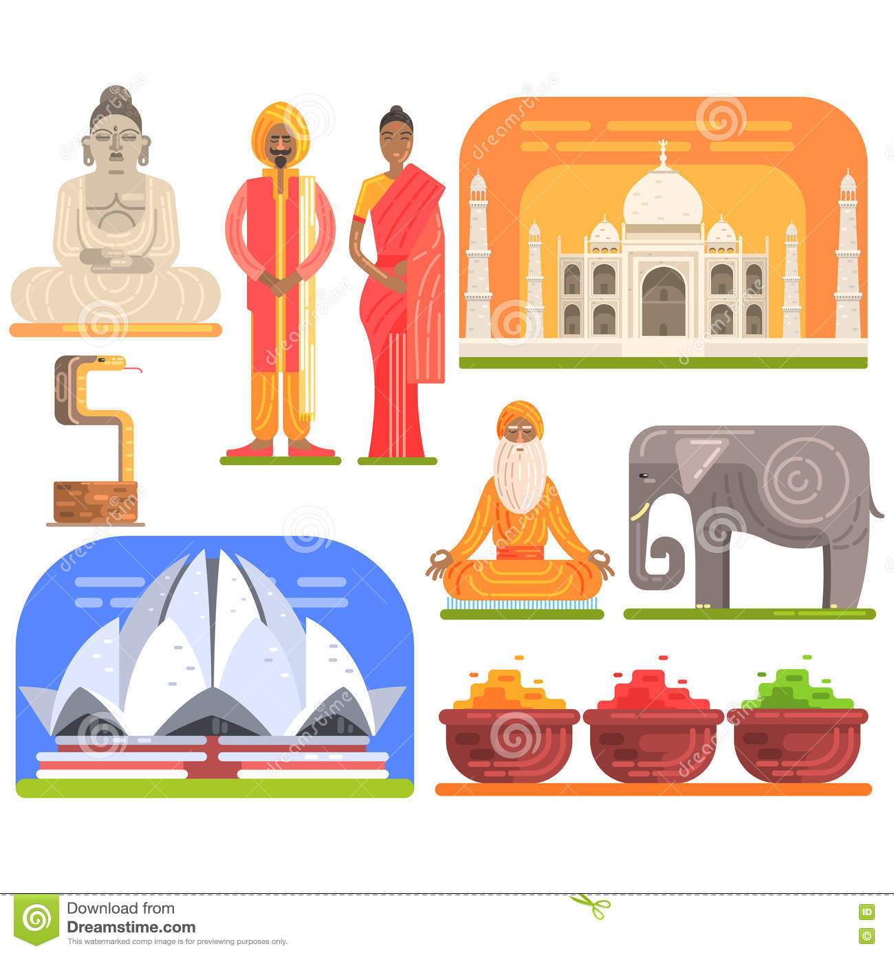 Touristic attractions symbols isometric chile map stock vector famous touristic attractions to see in india traditional tourism symbols of indian culture including clothing biocorpaavc Images
