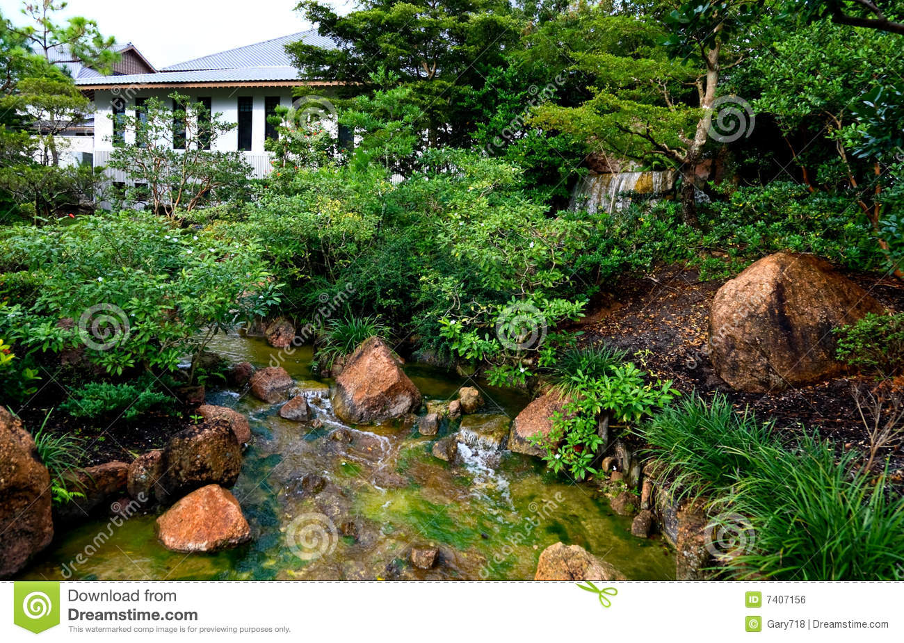 A famous traditional japanese garden royalty free stock for Traditional japanese garden