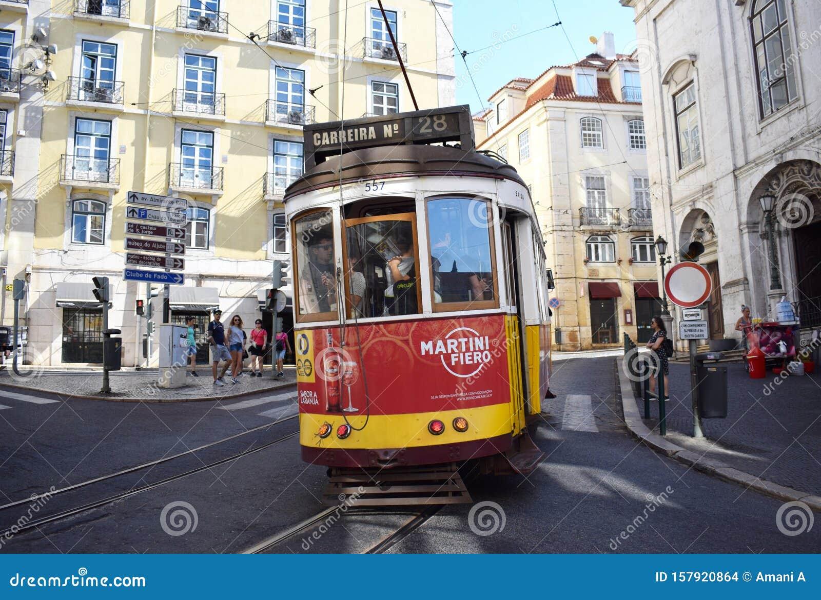 Tram 28 in Lisbon`s Baixa District