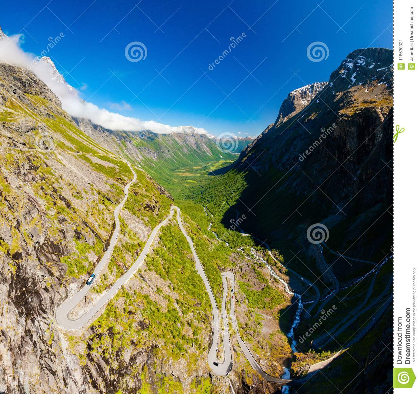 Famous Trollstigen serpentine mountain road with clear sky, Andalsnes, Norway