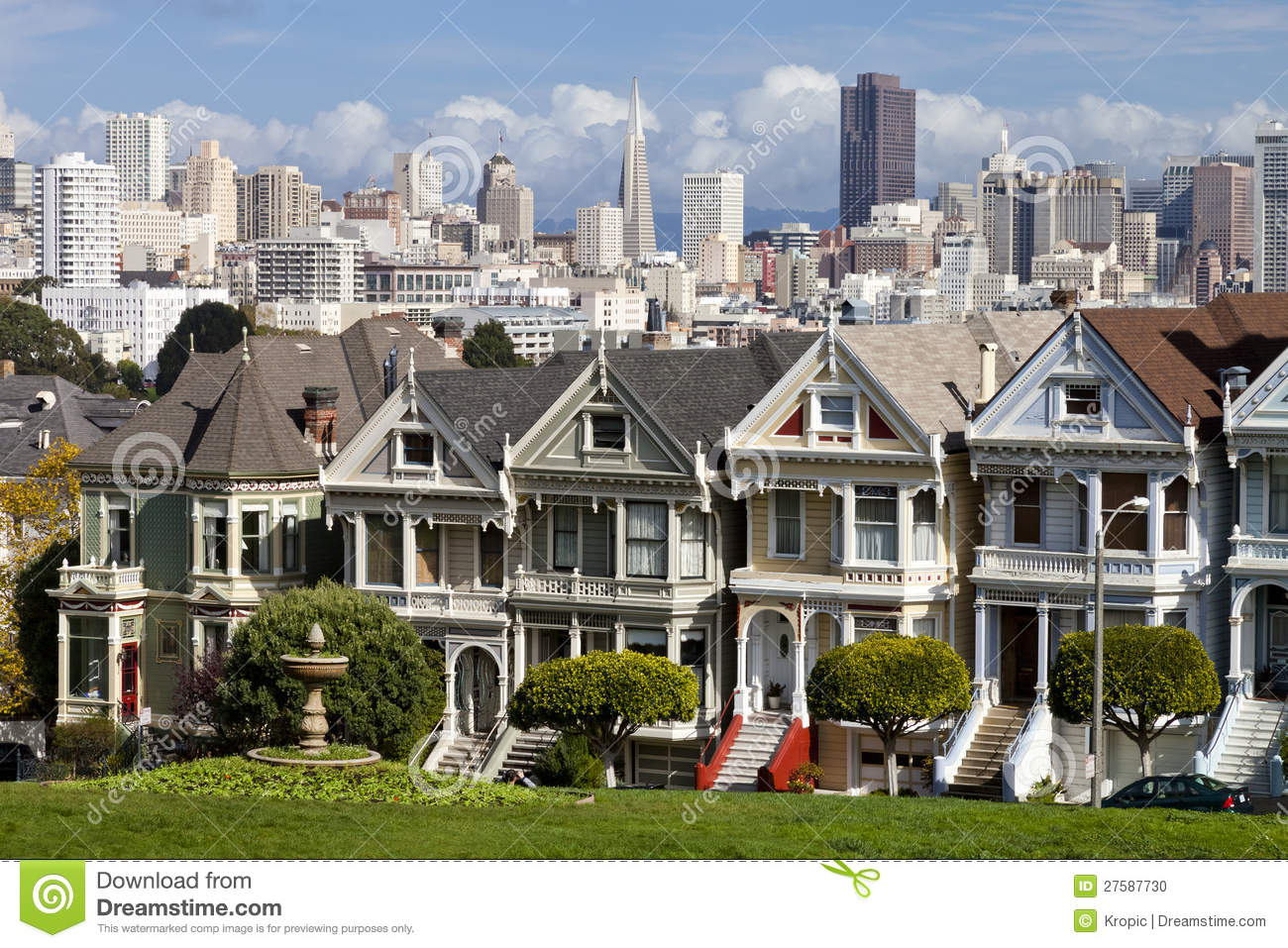 famous victorian row houses in san francisco editorial