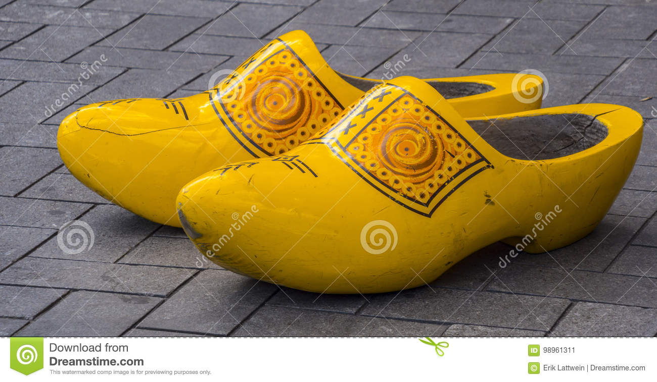 The Famous Wooden Shoes Of Holland Typical For Amsterdam Editorial