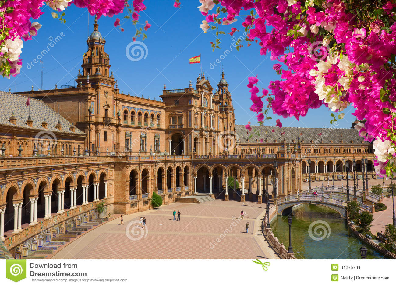 Famouse fyrkant av Spanien i Seville, Spanien