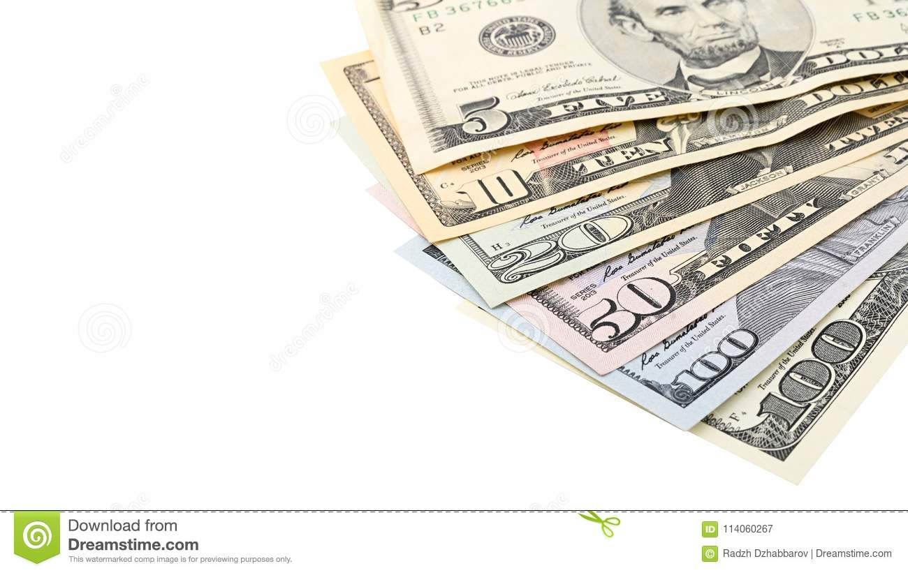 Fan American money 5,10, 20, 50, new 100 dollar bill on white background clipping path with copy space