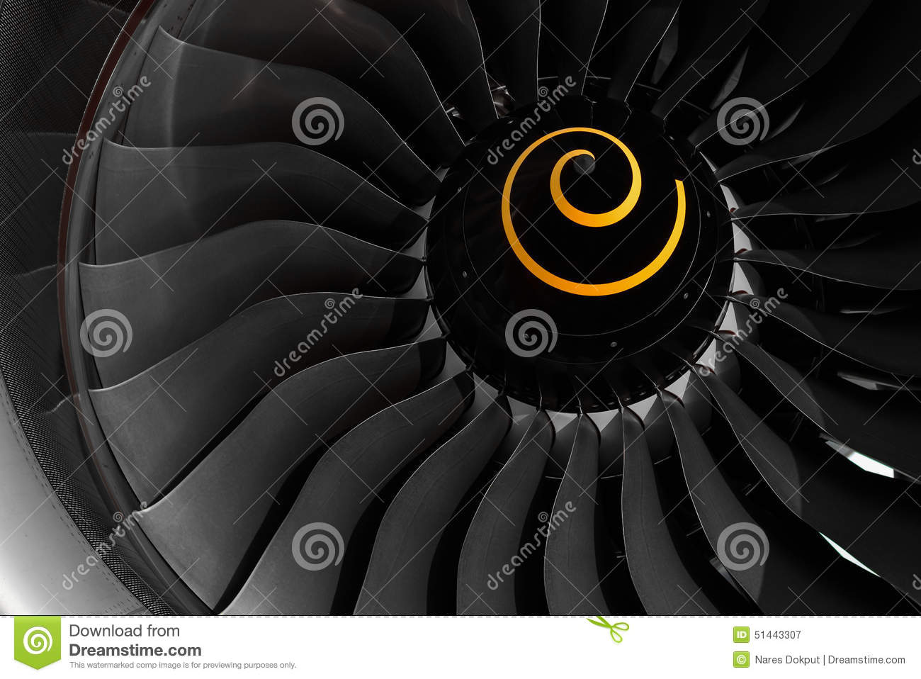 Jet Engine Fan Blades : Fan blade of aircraft jet engine stock photo image