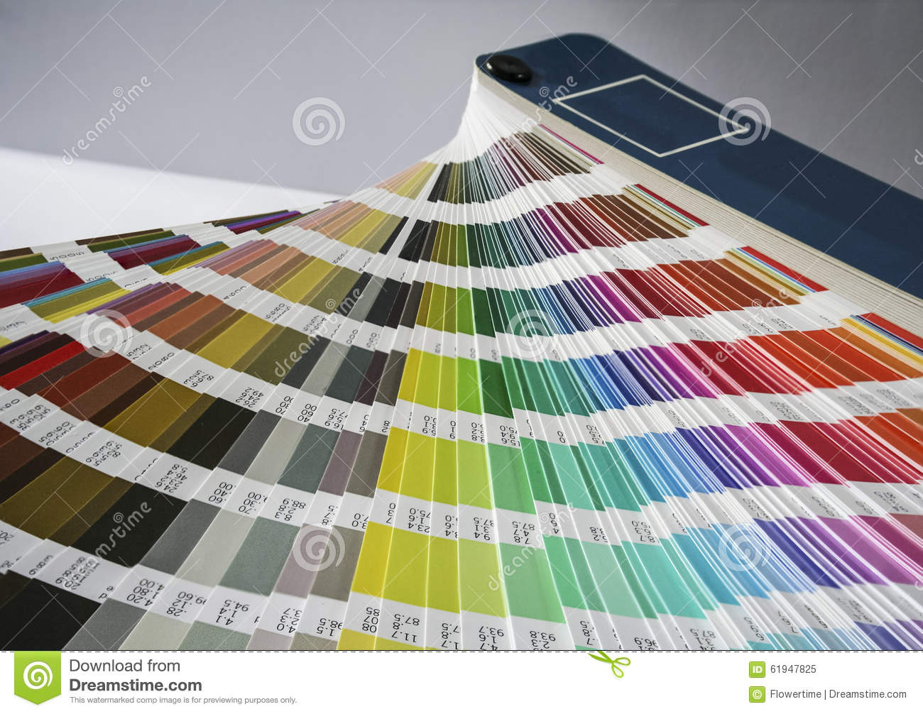 Fan of colour swatches for printing and graphic design.