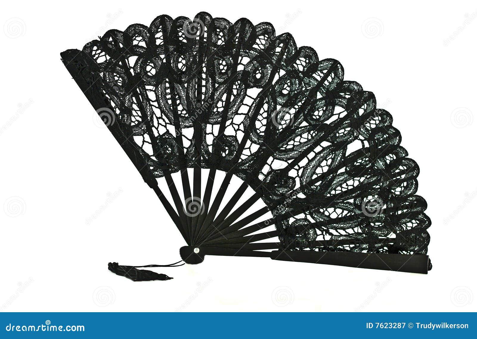 Fan czarny koronka