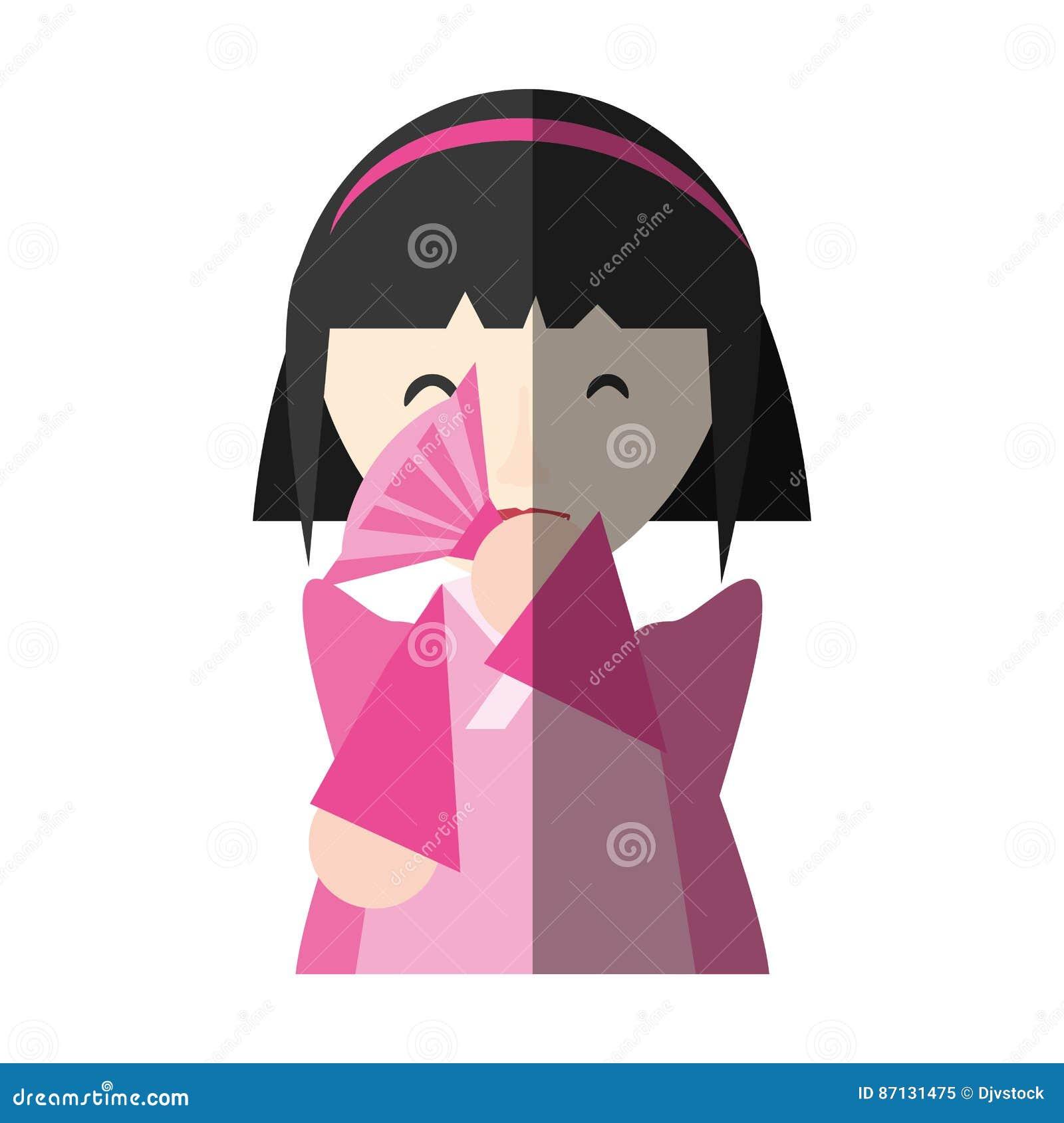 Fan de fille japonaise et ombre de exécution de diadème