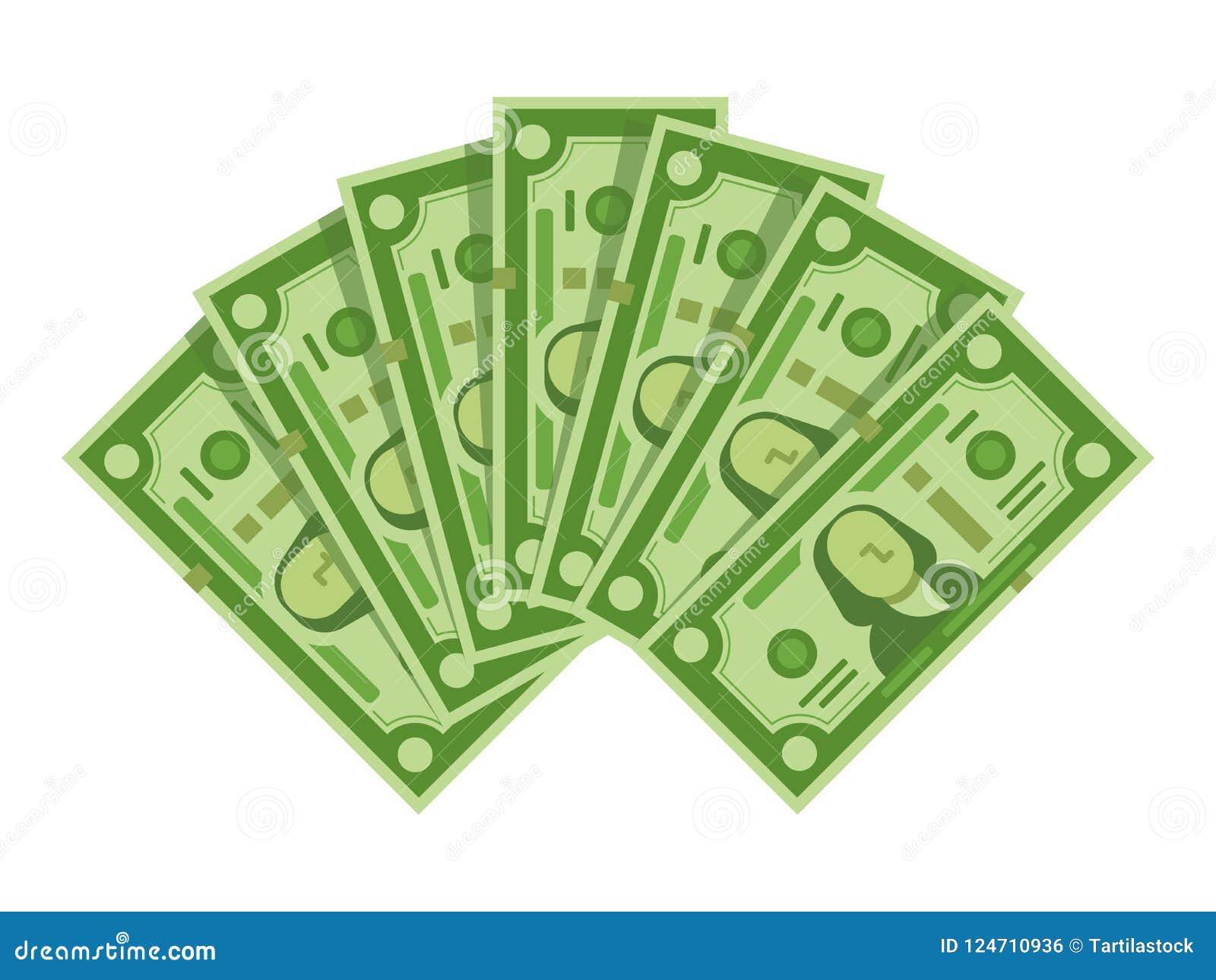 Fan de los billetes de banco del dinero La pila de efectivo de los dólares, los billetes de dólar verdes apila o ejemplo aislado