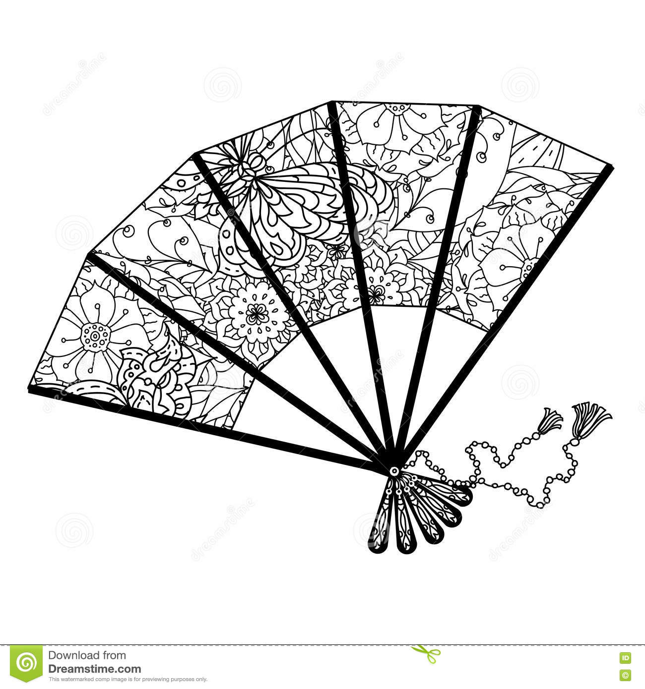 Fan Decorated By Contoured Butterflies And Asian Style