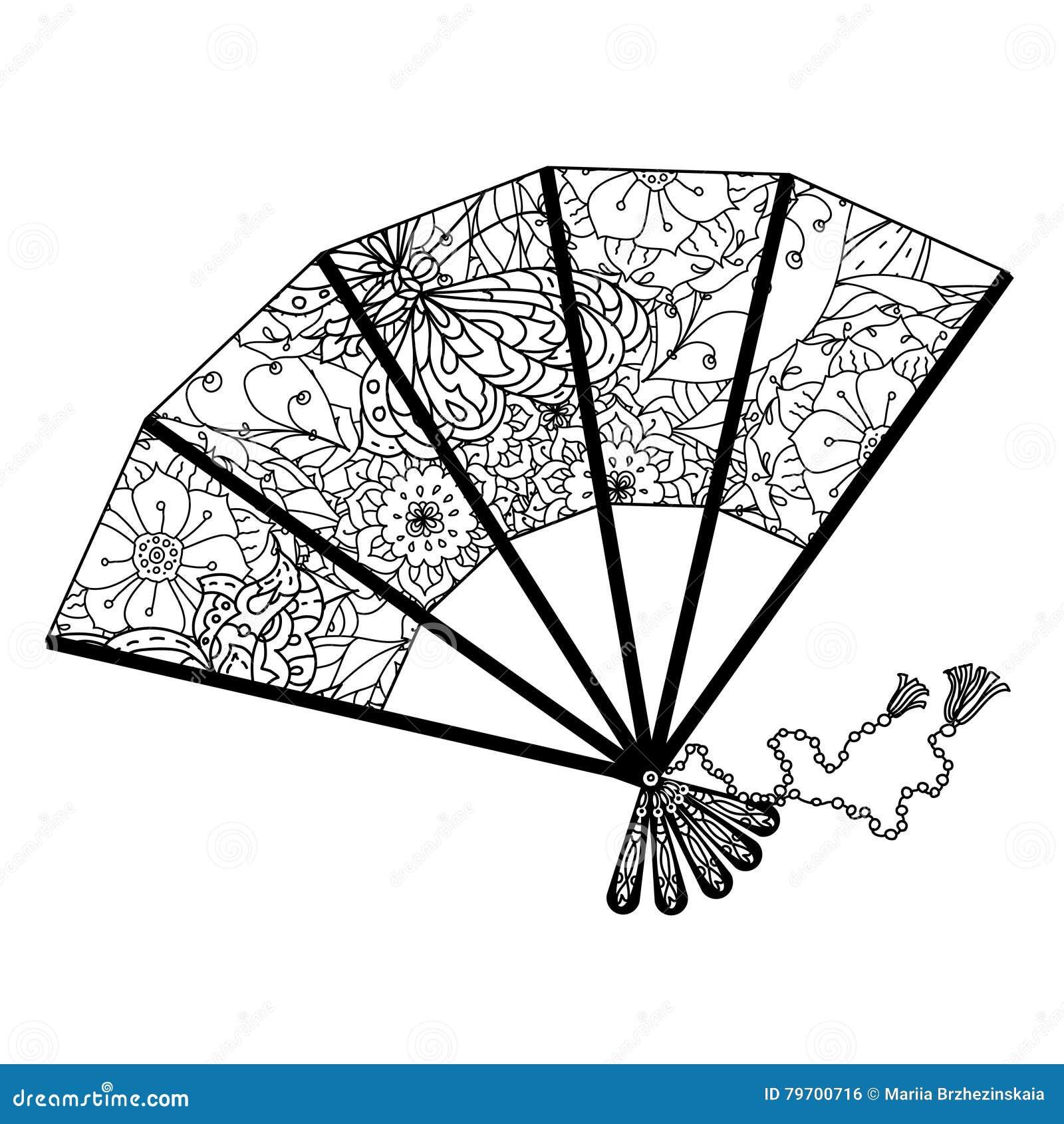 Fan dekorujący obrysowywającymi azjata stylu kwiatami i motylami