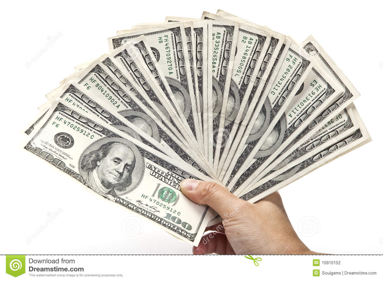 Fan Of Hundred Dollar Bills Stock Photography - Image: 10910152