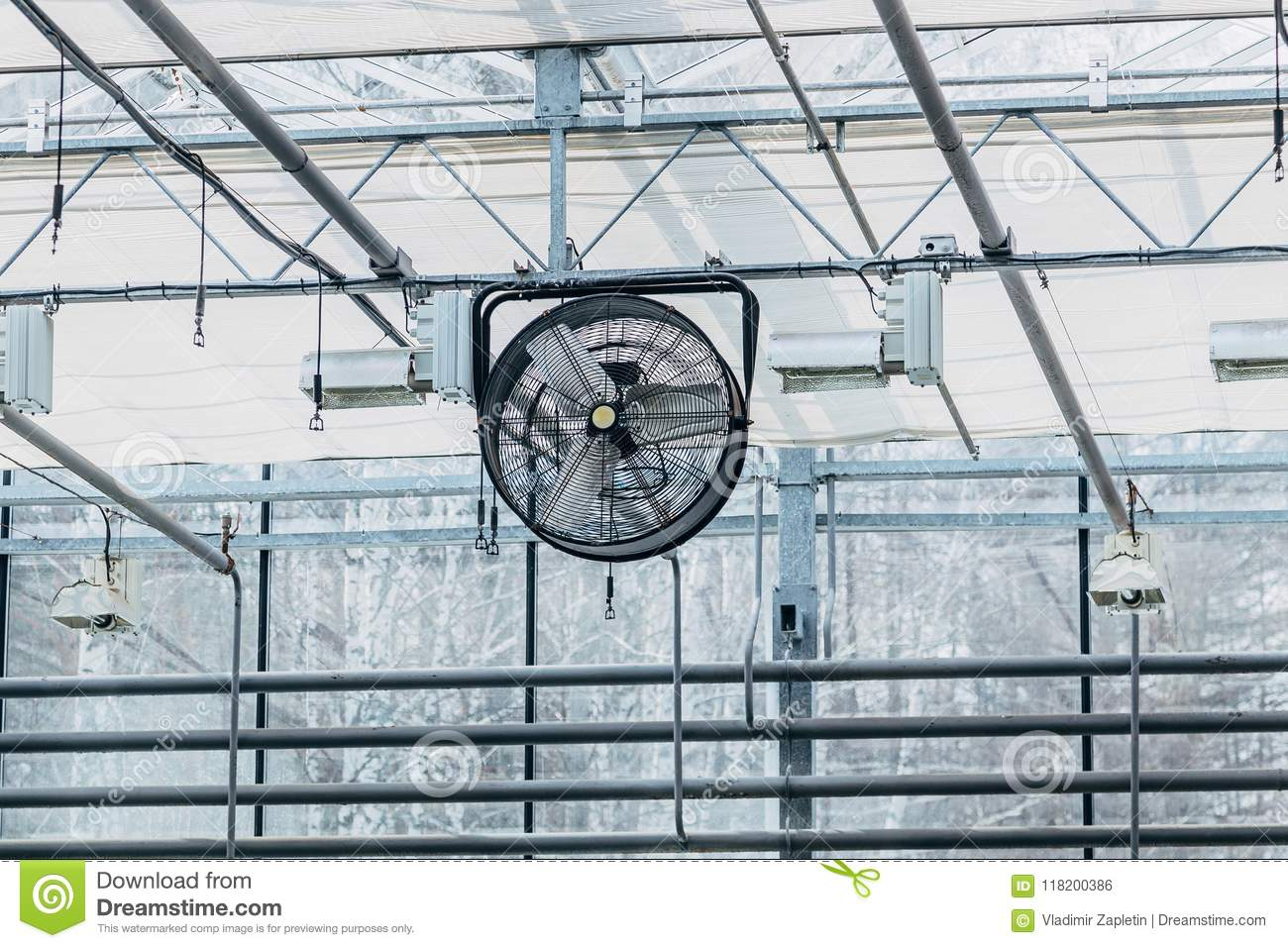 Fan in modern agricultural greenhouse.