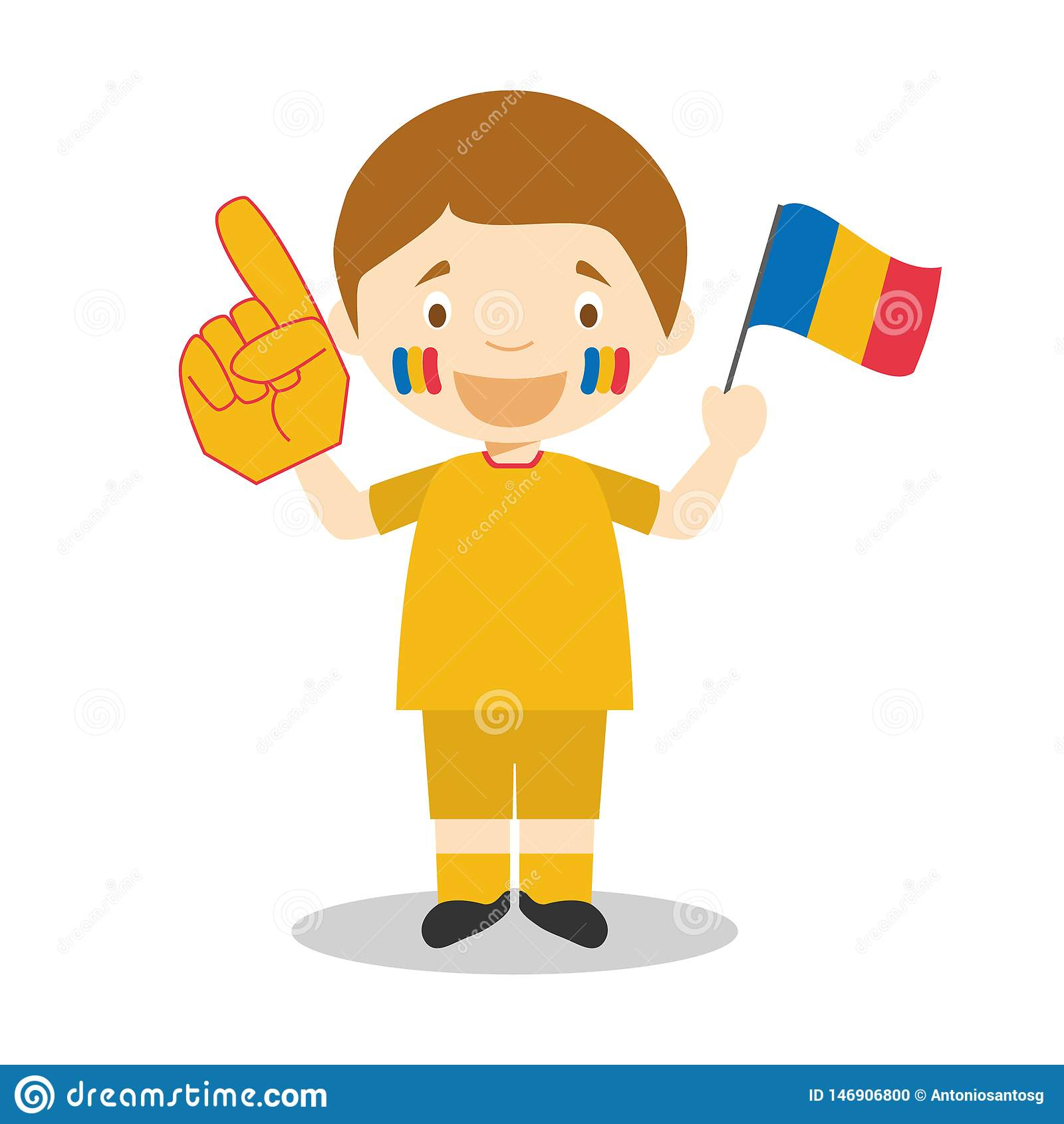 Fan nationale d équipe de sport de Roumanie avec l illustration de vecteur de drapeau et de gant