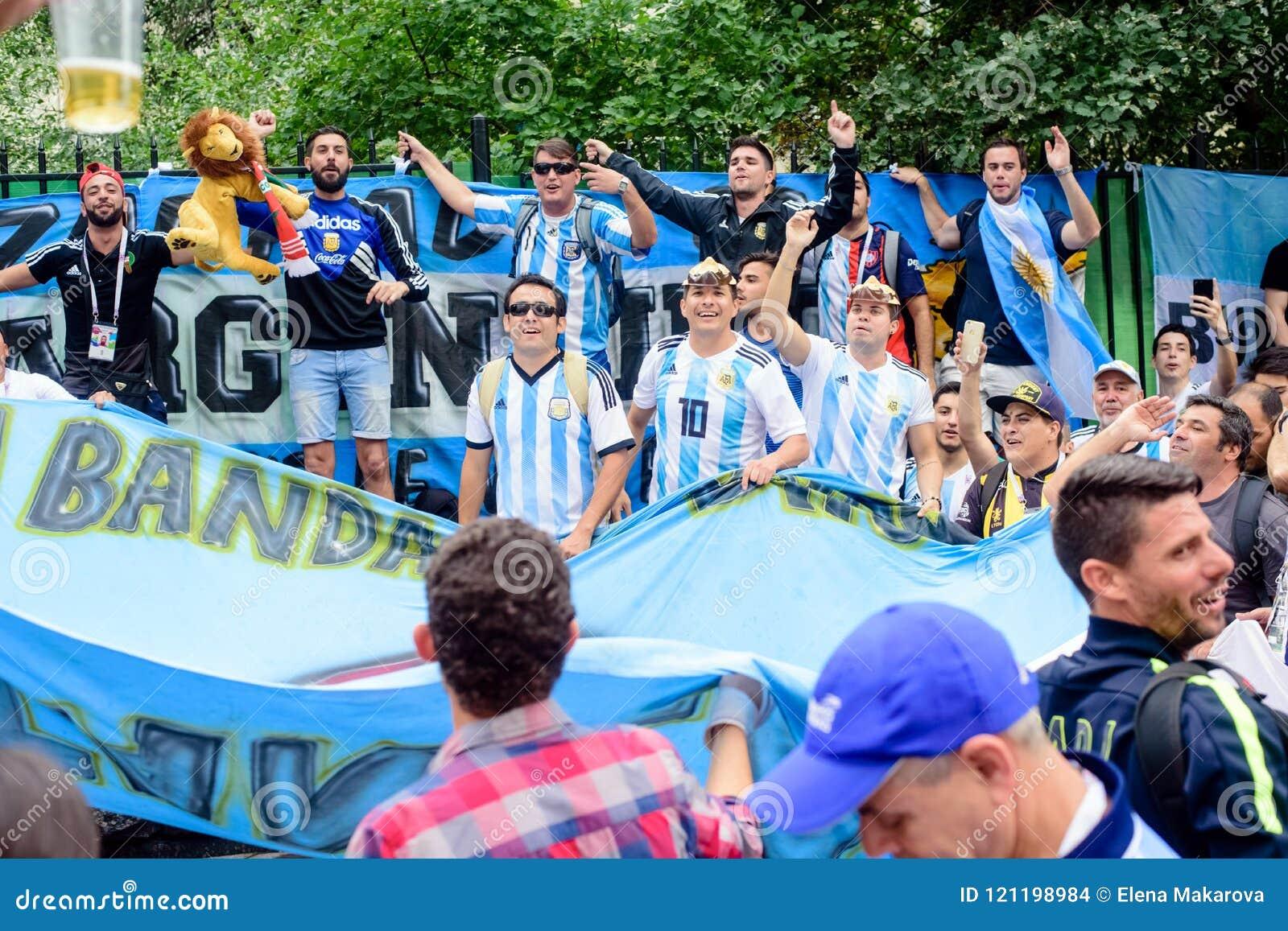 Fan piłki nożnej Argentyńska drużyny futbolowej główna ulica Nikolskaya