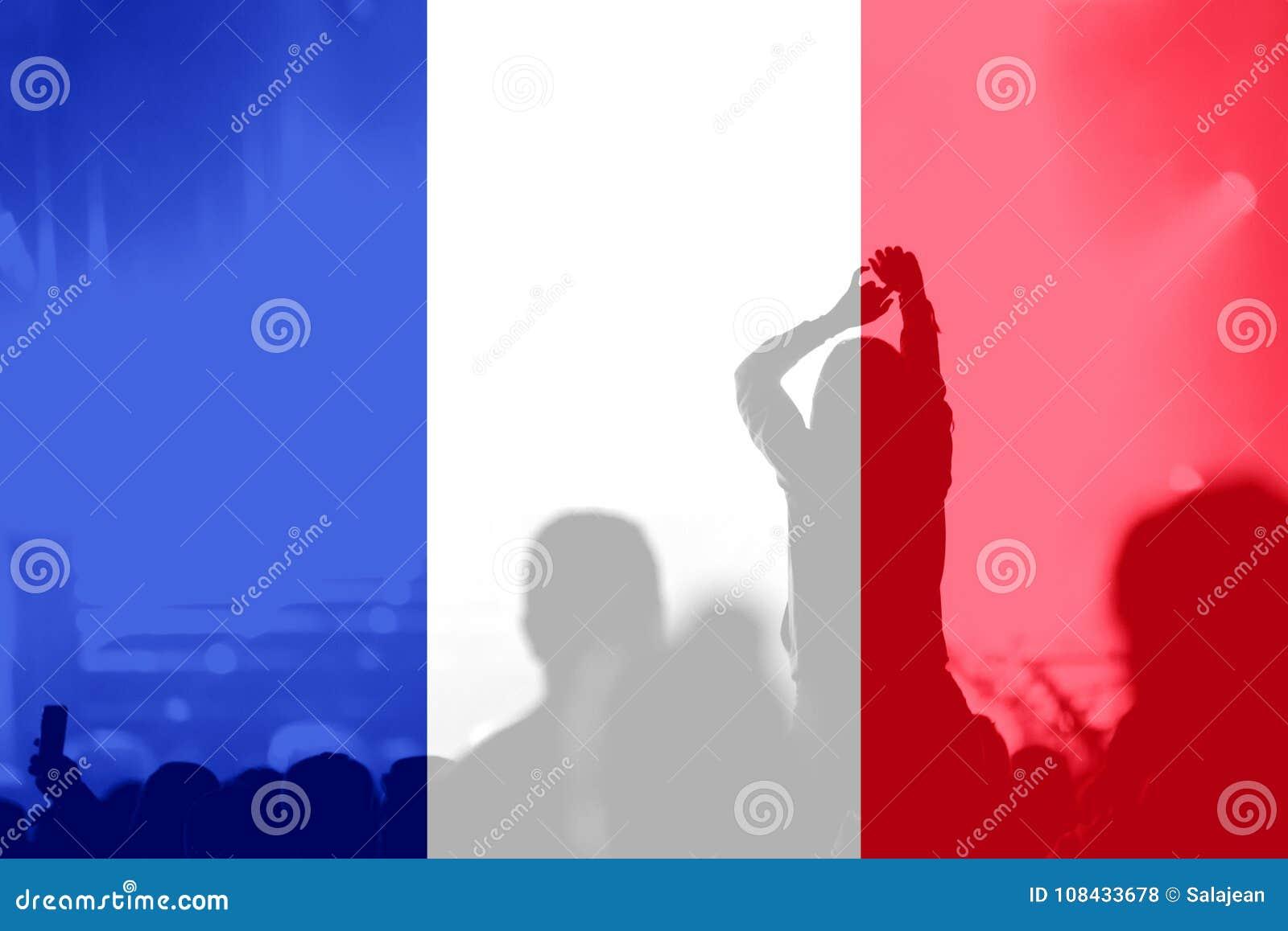 Fan piłki nożnej z mieszać Francja flaga