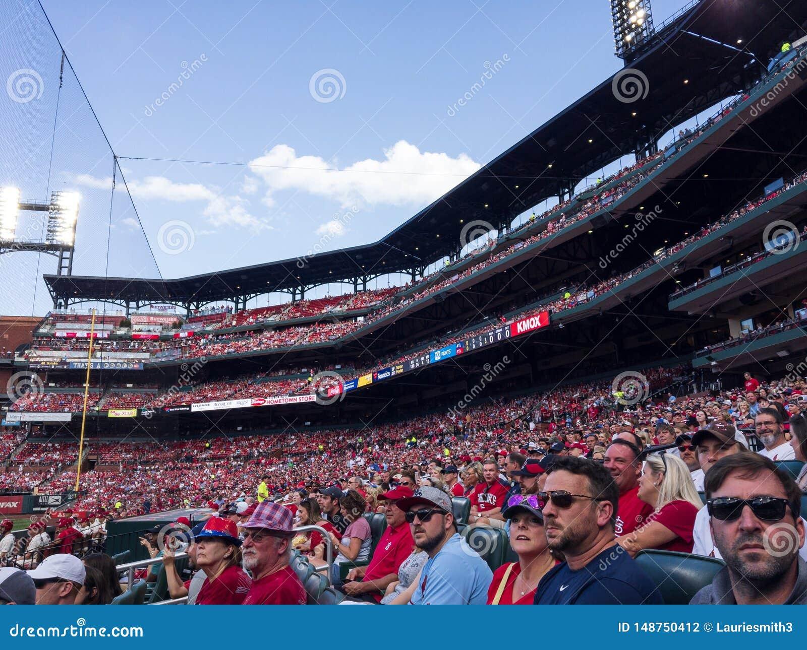 Fan przy Busch stadium cieszy się kardynała baseballa grę Maj 25, 2019